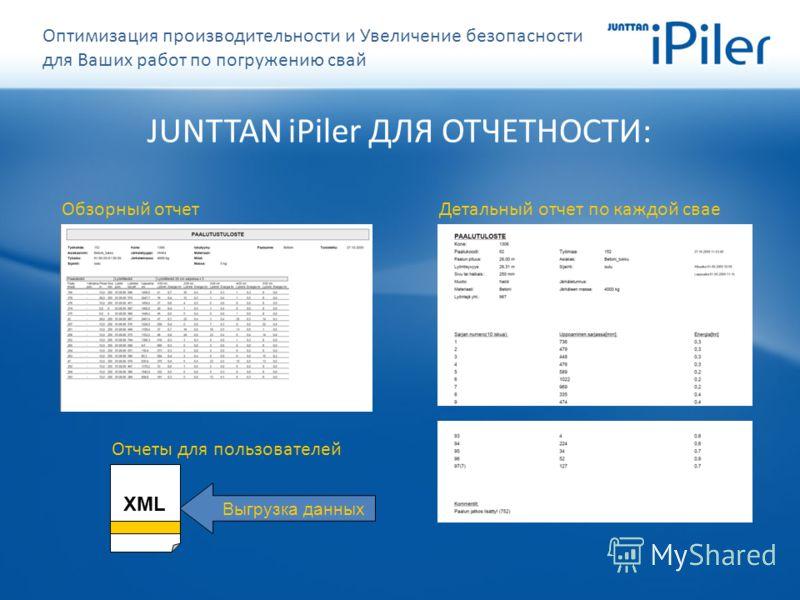Выгрузка данных JUNTTAN iPiler ДЛЯ ОТЧЕТНОСТИ: Обзорный отчетДетальный отчет по каждой свае XML Отчеты для пользователей Оптимизация производительности и Увеличение безопасности для Ваших работ по погружению свай