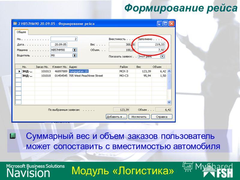 Модуль «Логистика» Microsoft Business Solutions Navision Формирование рейса Суммарный вес и объем заказов пользователь может сопоставить с вместимостью автомобиля