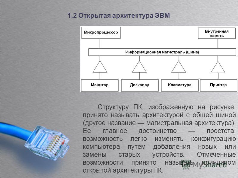 1.2 Открытая архитектура ЭВМ Структуру ПК, изображенную на рисунке, принято называть архитектурой с общей шиной (другое название магистральная архитектура). Ее главное достоинство простота, возможность легко изменять конфигурацию компьютера путем доб