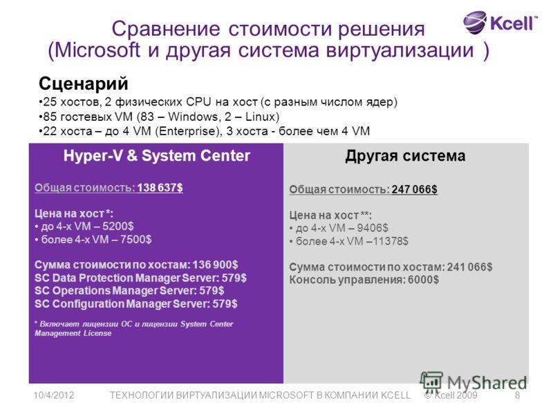 7/21/2012ТЕХНОЛОГИИ ВИРТУАЛИЗАЦИИ MICROSOFT В КОМПАНИИ KCELL © Kcell 20098 Сравнение стоимости решения (Microsoft и другая система виртуализации ) Сценарий 25 хостов, 2 физических CPU на хост (с разным числом ядер) 85 гостевых VM (83 – Windows, 2 – L