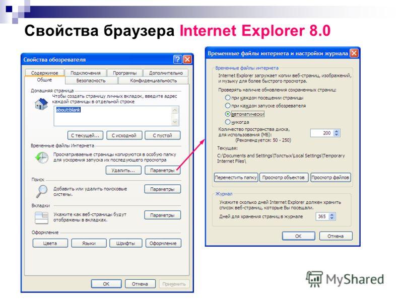 Свойства браузера Internet Explorer 8.0