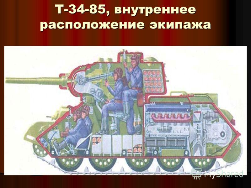 Т-34-85, внутреннее расположение экипажа