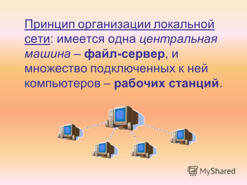 Принцип организации локальной сети: имеется одна центральная машина – файл-сервер, и множество подключенных к ней компьютеров – рабочих станций.