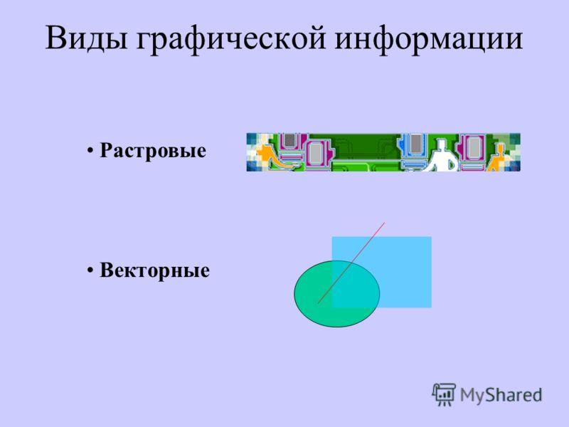 Виды графической информации Растровые Векторные