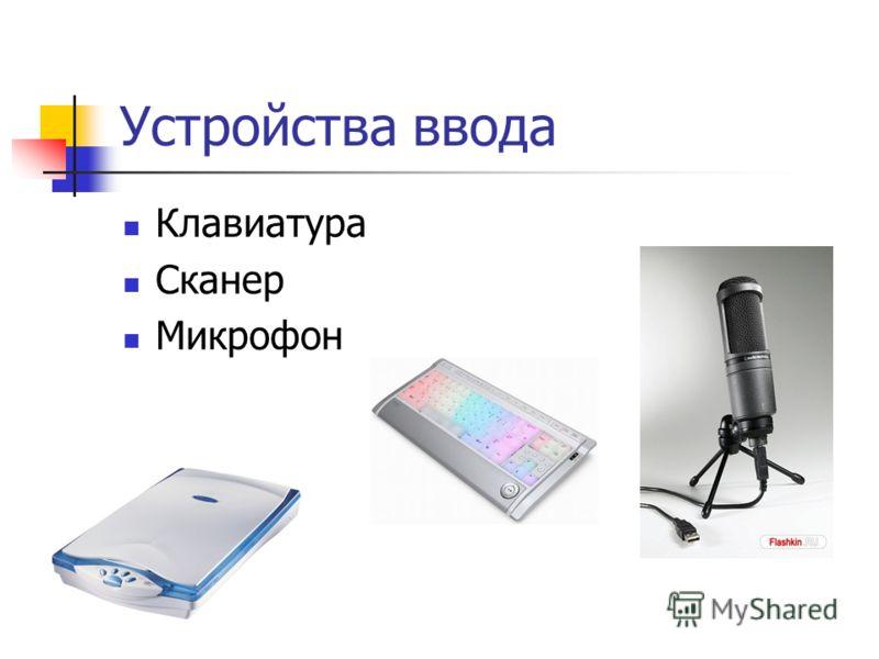 Устройства ввода Клавиатура Сканер Микрофон