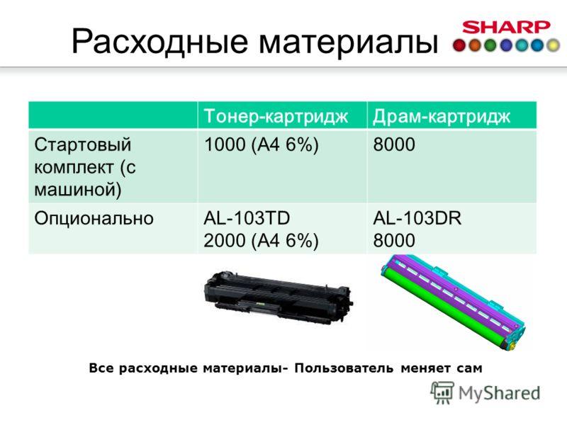 Расходные материалы Тонер-картриджДрам-картридж Стартовый комплект (с машиной) 1000 (A4 6%)8000 ОпциональноAL-103TD 2000 (A4 6%) AL-103DR 8000 Все расходные материалы- Пользователь меняет сам