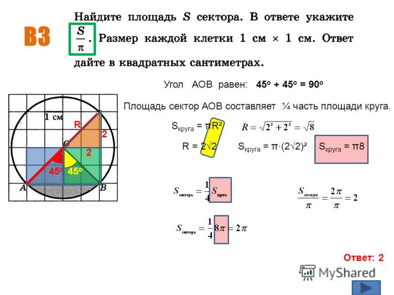 В3 Ответ: 2 45 о Угол АОВ равен: 45 о + 45 о = 90 о Площадь сектор АОВ составляет ¼ часть площади круга. S круга = πR² R R = 22S круга = π·(22)²S круга = π8 45 о 2 2