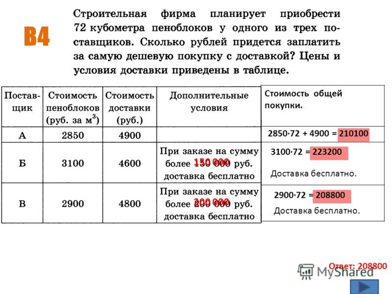 В4 Ответ: 208800 Стоимость общей покупки. 2850·72 + 4900 = 210100 3100·72 = 223200 150 000 Доставка бесплатно. 2900·72 = 208800 Доставка бесплатно. 200 000