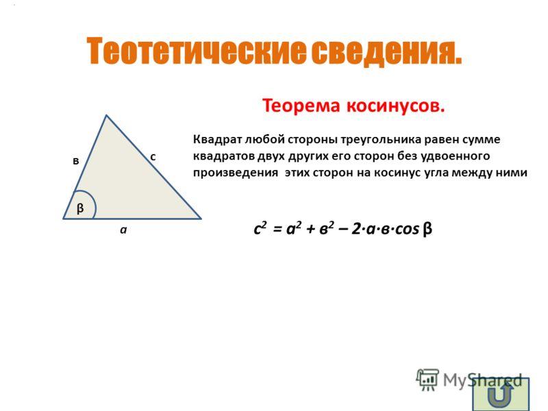 Теотетические сведения. а в с β Квадрат любой стороны треугольника равен сумме квадратов двух других его сторон без удвоенного произведения этих сторон на косинус угла между ними Теорема косинусов. с 2 = а 2 + в 2 – 2·a·в·соs β.