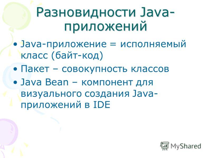 Разновидности Java- приложений Java-приложение = исполняемый класс (байт-код) Пакет – совокупность классов Java Bean – компонент для визуального создания Java- приложений в IDE