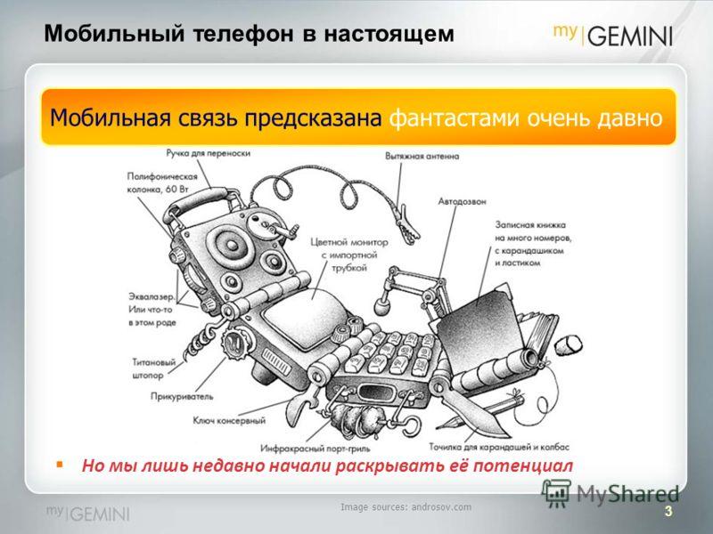 3 Мобильный телефон в настоящем Мобильная связь предсказана фантастами очень давно Image sources: androsov.com Но мы лишь недавно начали раскрывать её потенциал