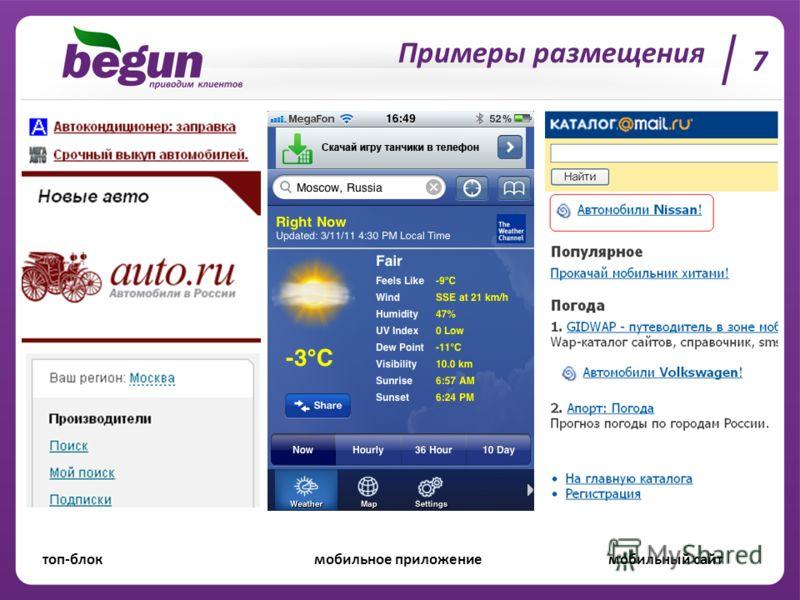 Примеры размещения топ-блок мобильное приложение мобильный сайт 7