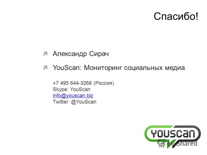 Александр Сирач YouScan: Мониторинг социальных медиа +7 495 644-3268 (Россия) Skype: YouScan info@youscan.biz Twitter: @YouScan info@youscan.biz Cпасибо!