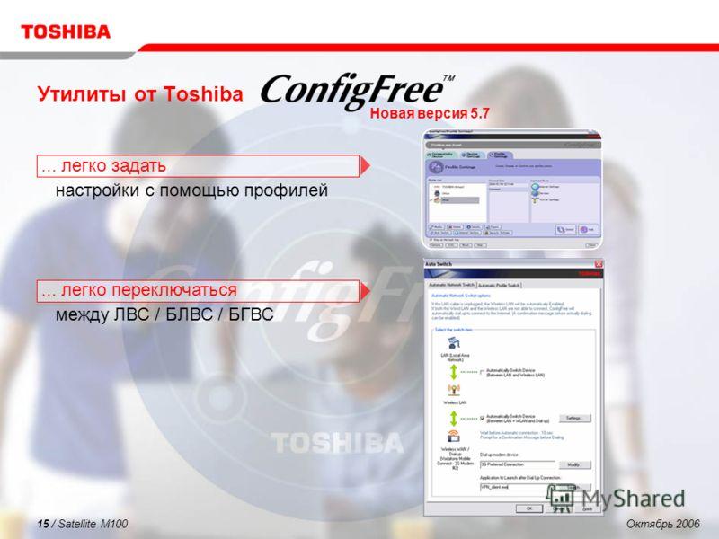 Октябрь 200615 / Satellite M100 Утилиты от Toshiba... легко задать настройки с помощью профилей... легко переключаться между ЛВС / БЛВС / БГВС Новая версия 5.7