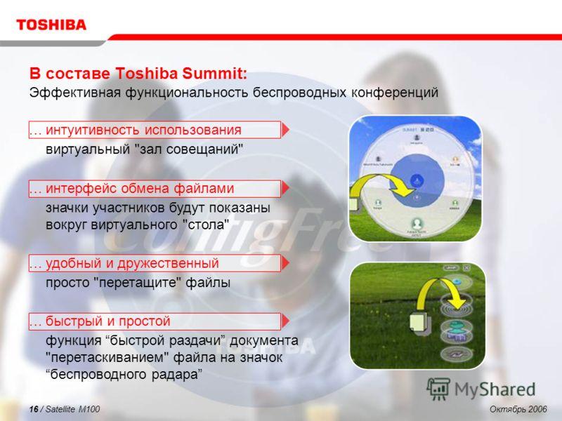 Октябрь 200616 / Satellite M100 В составе Toshiba Summit: Эффективная функциональность беспроводных конференций …интуитивность использования виртуальный