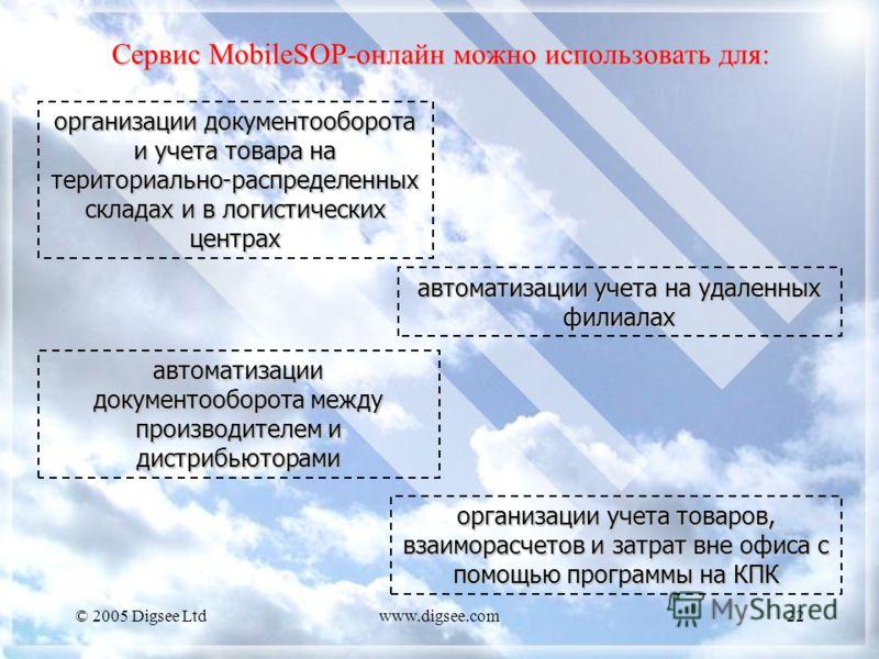 © 2005 Digsee Ltdwww.digsee.com22 Сервис MobileSOP-онлайн можно использовать для: организации документооборота и учета товара на териториально-распределенных складах и в логистических центрах организации учета товаров, взаиморасчетов и затрат вне офи