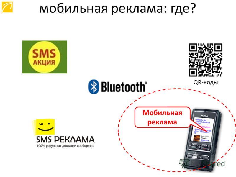 QR-коды Мобильная реклама мобильная реклама: где?