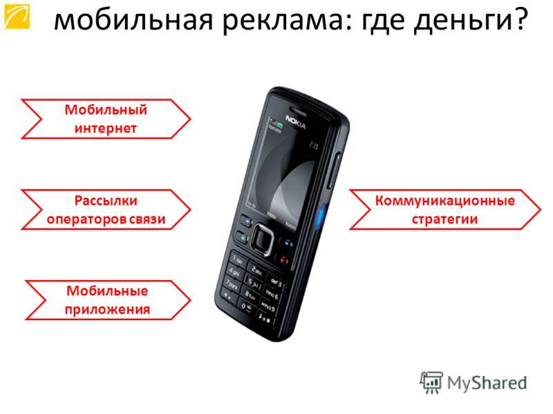 Мобильный интернет Рассылки операторов связи Мобильные приложения мобильная реклама: где деньги? Коммуникационные стратегии