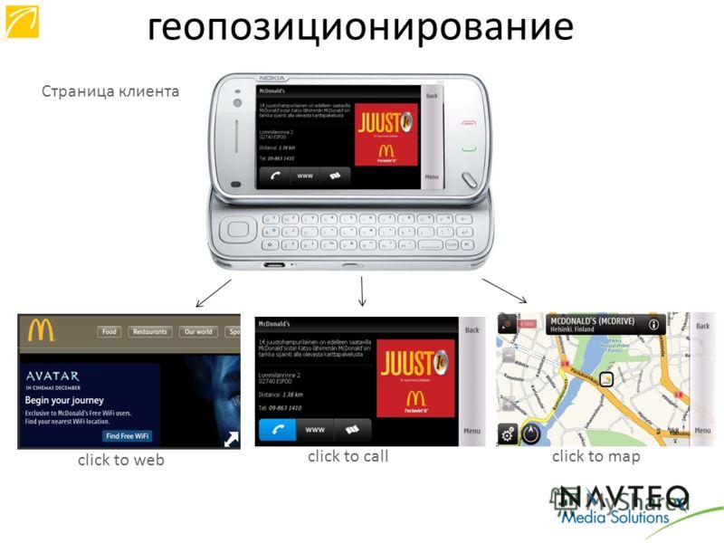 Страница клиента click to web сlick to callсlick to map геопозиционирование