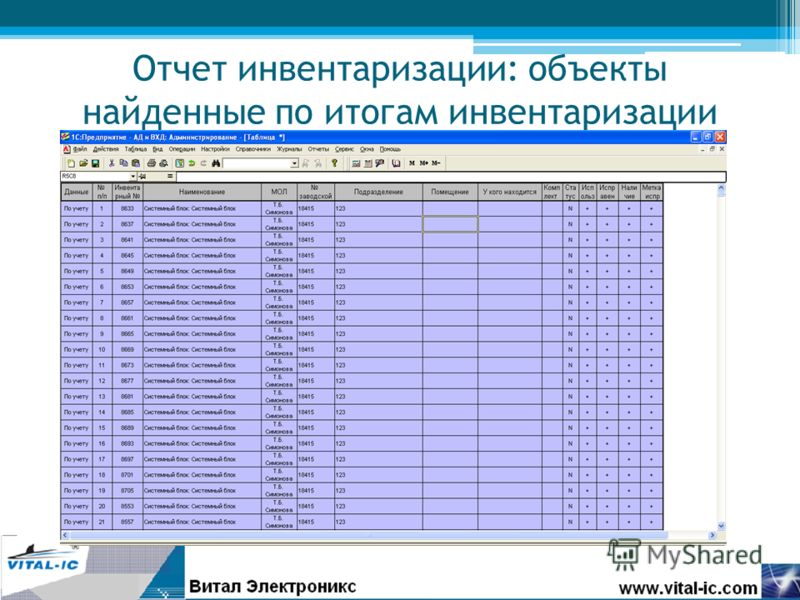 Отчет инвентаризации: объекты найденные по итогам инвентаризации