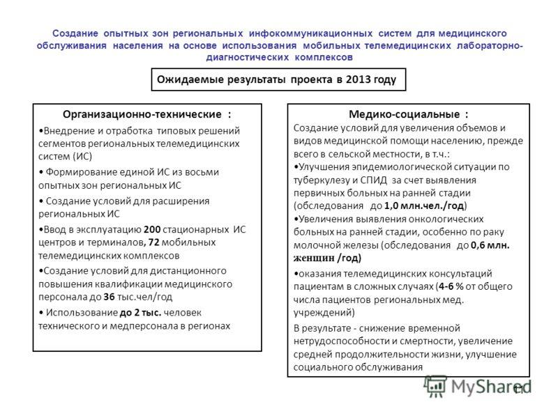 Ожидаемые результаты проекта в 2013 году Организационно-технические : Внедрение и отработка типовых решений сегментов региональных телемедицинских систем (ИС) Формирование единой ИС из восьми опытных зон региональных ИС Создание условий для расширени