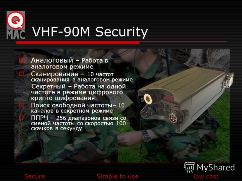 SecureSimple to uselow cost VHF-90M Security Аналоговый – Работа в аналоговом режиме Сканирование – 10 частот сканирования в аналоговом режиме Секретный – Работа на одной частоте в режиме цифрового крипто шифрования Поиск свободной частоты– 10 канало