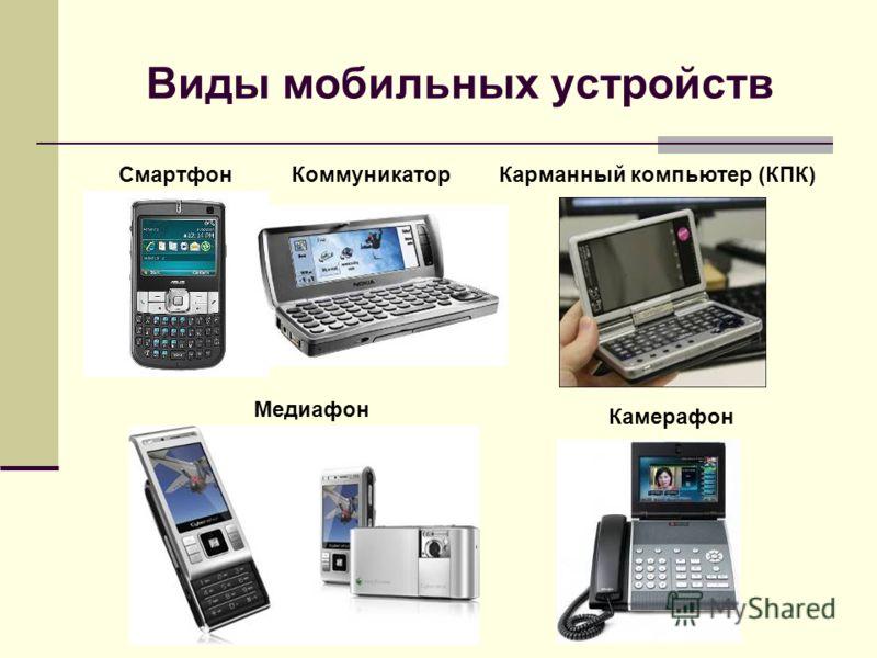 Виды мобильных устройств СмартфонКоммуникаторКарманный компьютер (КПК) Медиафон Камерафон