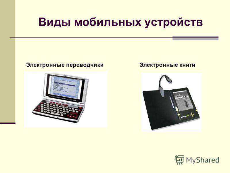 Электронные переводчикиЭлектронные книги Виды мобильных устройств