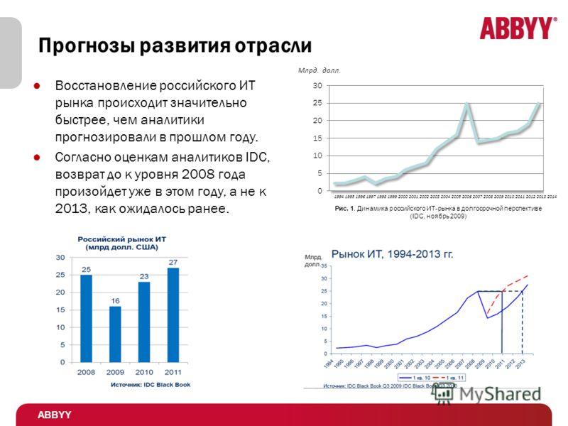 Прогнозы развития отрасли Восстановление российского ИТ рынка происходит значительно быстрее, чем аналитики прогнозировали в прошлом году. Согласно оценкам аналитиков IDC, возврат до к уровня 2008 года произойдет уже в этом году, а не к 2013, как ожи