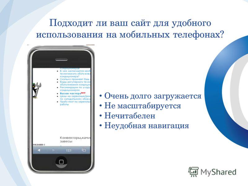 Подходит ли ваш сайт для удобного использования на мобильных телефонах? Очень долго загружается Не масштабируется Нечитабелен Неудобная навигация