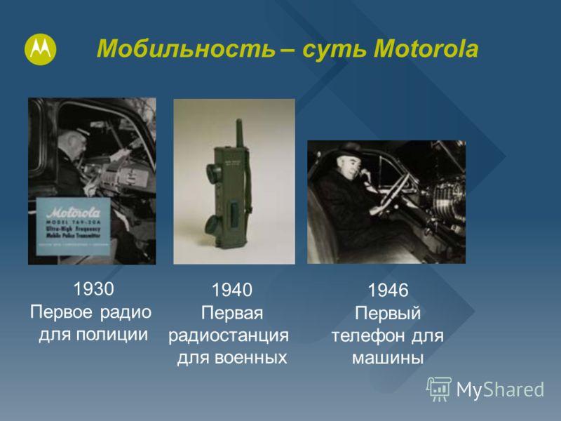 Мобильность – суть Motorola 1930 Первое радио для полиции 1940 Первая радиостанция для военных 1946 Первый телефон для машины