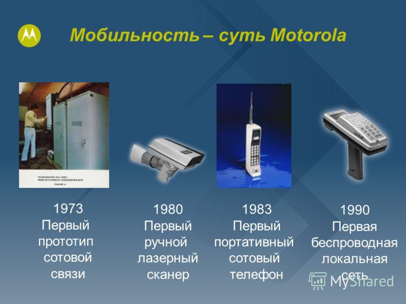 Мобильность – суть Motorola 1973 Первый прототип сотовой связи 1980 Первый ручной лазерный сканер 1983 Первый портативный сотовый телефон 1990 Первая беспроводная локальная сеть