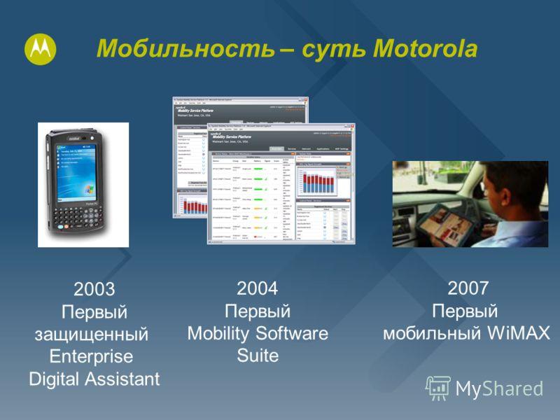 Мобильность – суть Motorola 2007 Первый мобильный WiMAX 2003 Первый защищенный Enterprise Digital Assistant 2004 Первый Mobility Software Suite