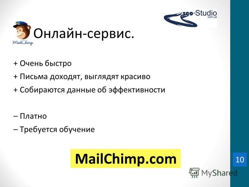 10 Онлайн-сервис. + Очень быстро + Письма доходят, выглядят красиво + Собираются данные об эффективности – Платно – Требуется обучение 10 MailСhimp.com