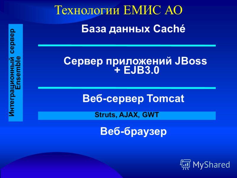 Технологии ЕМИС АО База данных Caché Сервер приложений JBoss + EJB3.0 Веб-сервер Tomcat Веб-браузер Интеграционный сервер Ensemble Struts, AJAX, GWT