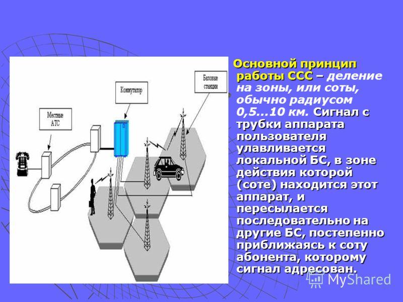 Основной принцип работы ССС – Сигнал с трубки аппарата пользователя улавливается локальной БС, в зоне действия которой (соте) находится этот аппарат, и пересылается последовательно на другие БС, постепенно приближаясь к соту абонента, которому сигнал