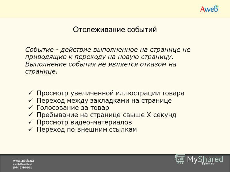 www.aweb.ua aweb@aweb.ua (044) 538-01-61 19 из 28 Отслеживание событий Событие - действие выполненное на странице не приводящие к переходу на новую страницу. Выполнение события не является отказом на странице. Просмотр увеличенной иллюстрации товара