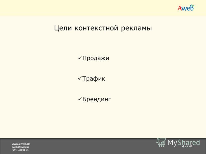 www.aweb.ua aweb@aweb.ua (044) 538-01-61 4 из 28 Цели контекстной рекламы Продажи Трафик Брендинг