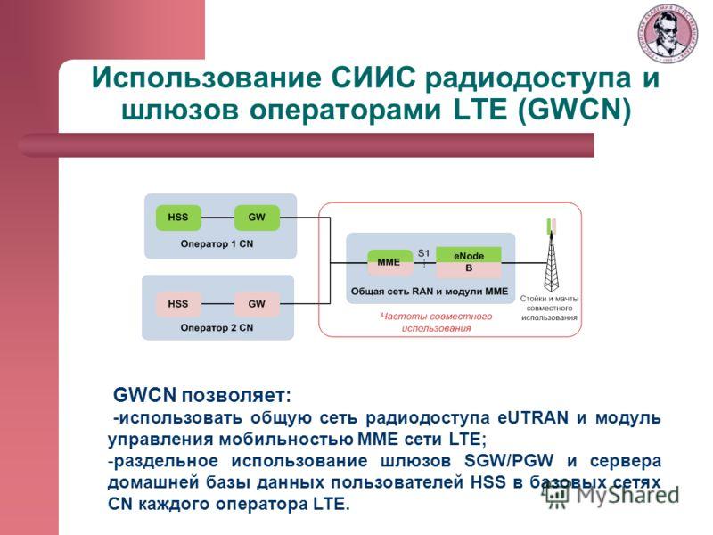 Использование СИИС радиодоступа и шлюзов операторами LTE (GWCN) GWCN позволяет: -использовать общую сеть радиодоступа eUTRAN и модуль управления мобильностью ММЕ сети LTE; -раздельное использование шлюзов SGW/PGW и сервера домашней базы данных пользо
