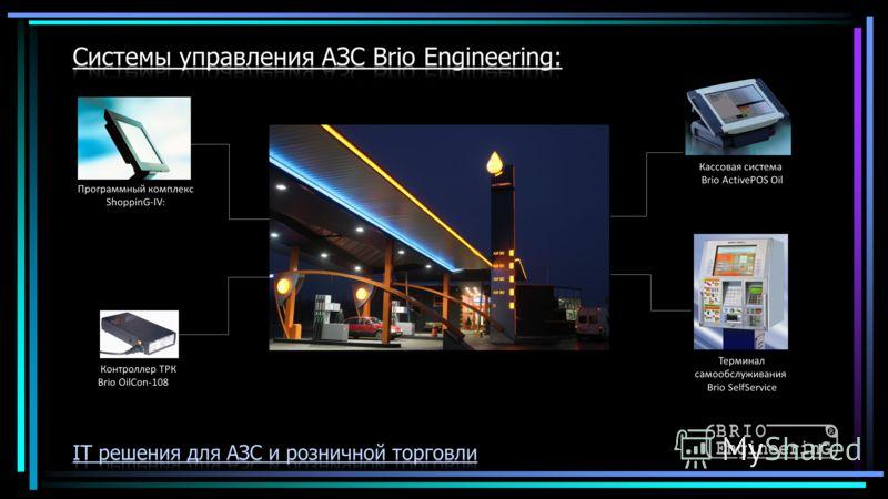 Кассовая система Brio ActivePOS Oil Терминал самообслуживания Brio SelfService Контроллер ТРК Brio OilCon-108 Программный комплекс ShoppinG-IV: