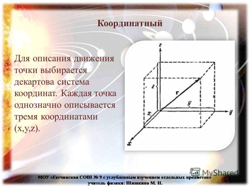 Координатный Для описания движения точки выбирается декартова система координат. Каждая точка однозначно описывается тремя координатами (x,y,z).