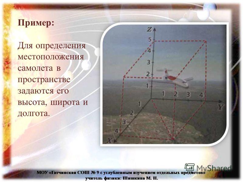 Пример: Для определения местоположения самолета в пространстве задаются его высота, широта и долгота.