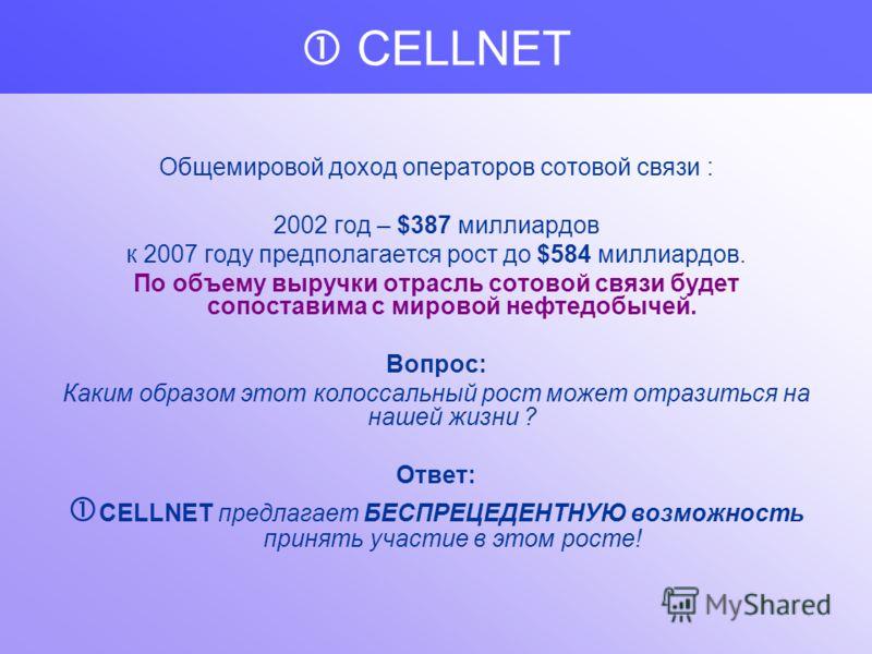 CELLNET вышла на самый массовый мировой рынок : рынок мобильной связи,и предложила дополнительную услугу!!! ФАКТЫ: 2000 год – 793 миллиона абонентов 2002 год – 1014 миллионов абонентов 2003 год – 1155 миллионов абонентов Согласно прогнозу компании Ya
