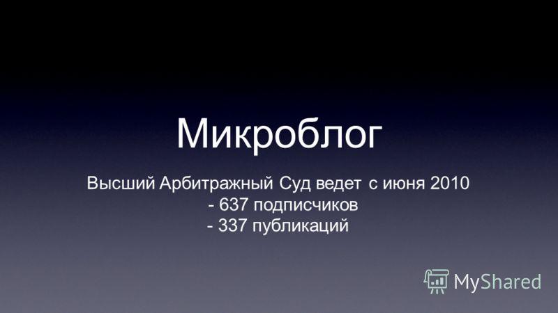 Микроблог Высший Арбитражный Суд ведет с июня 2010 - 637 подписчиков - 337 публикаций