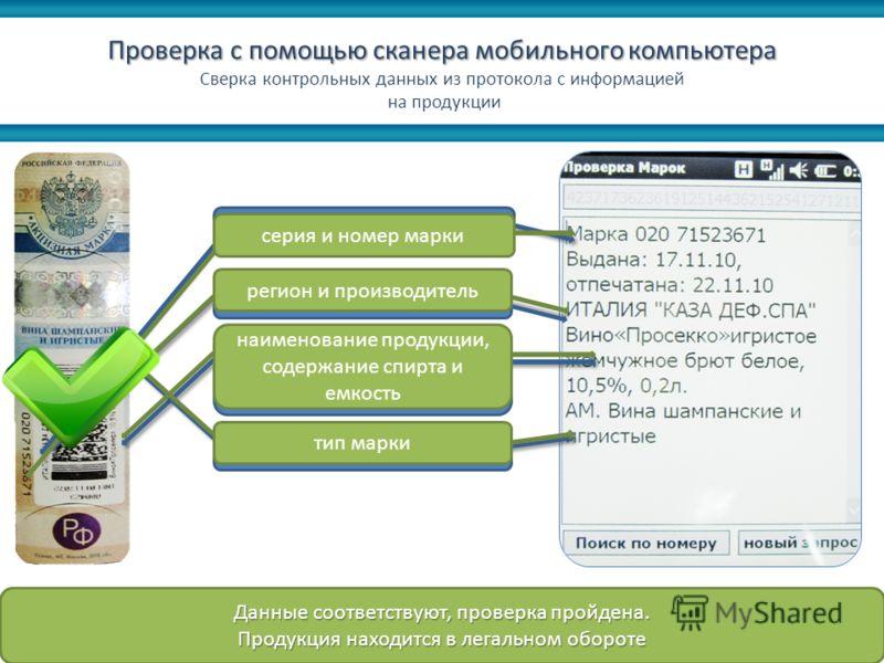 Проверка с помощью сканера мобильного компьютера Сверка контрольных данных из протокола с информацией на продукции Данные соответствуют, проверка пройдена. Продукция находится в легальном обороте серия и номер марки регион и производитель наименовани