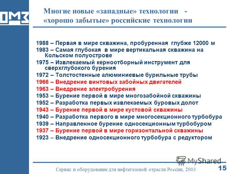 15 Сервис и оборудование для нефтегазовой отрасли России, 2003 Многие новые «западные» технологии - «хорошо забытые» российские технологии 1988 – Первая в мире скважина, пробуренная глубже 12000 м 1983 – Самая глубокая в мире вертикальная скважина на