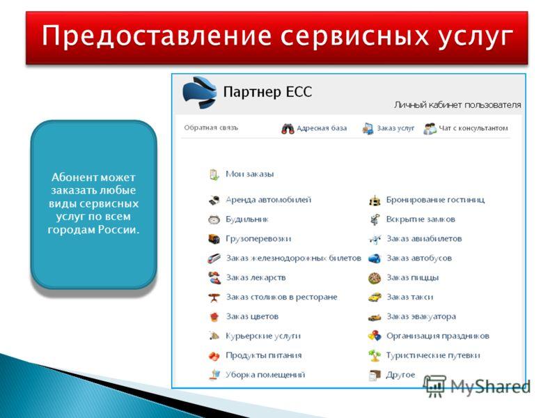 Абонент может заказать любые виды сервисных услуг по всем городам России.