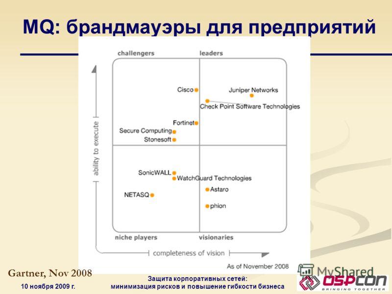 10 ноября 2009 г. Защита корпоративных сетей: минимизация рисков и повышение гибкости бизнеса MQ: брандмауэры для предприятий Gartner, Nov 2008