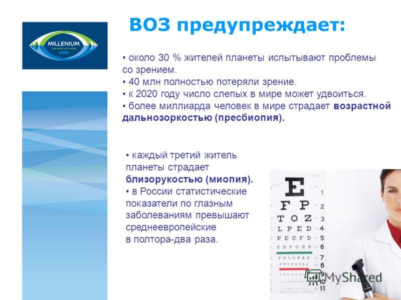 около 30 % жителей планеты испытывают проблемы со зрением. 40 млн полностью потеряли зрение. к 2020 году число слепых в мире может удвоиться. более миллиарда человек в мире страдает возрастной дальнозоркостью (пресбиопия). ВОЗ предупреждает: каждый т