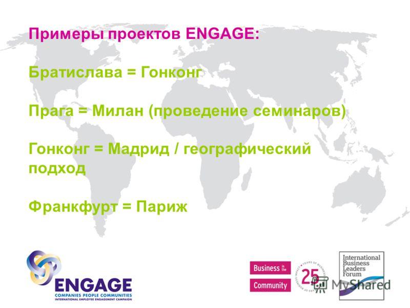 Примеры проектов ENGAGE: Братислава = Гонконг Прага = Милан (проведение семинаров) Гонконг = Мадрид / географический подход Франкфурт = Париж